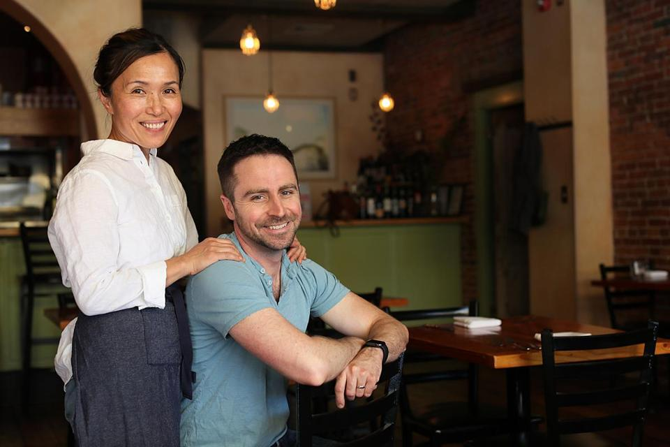 Easthampton, MA., 09/27/2019, Unmi Abkin and Roger Taylor, owners of Coco & the Cellar Bar. They have a new cookbook out and are celebrating the restaurant's 8th anniversary. Suzanne Kreiter/Globe staff