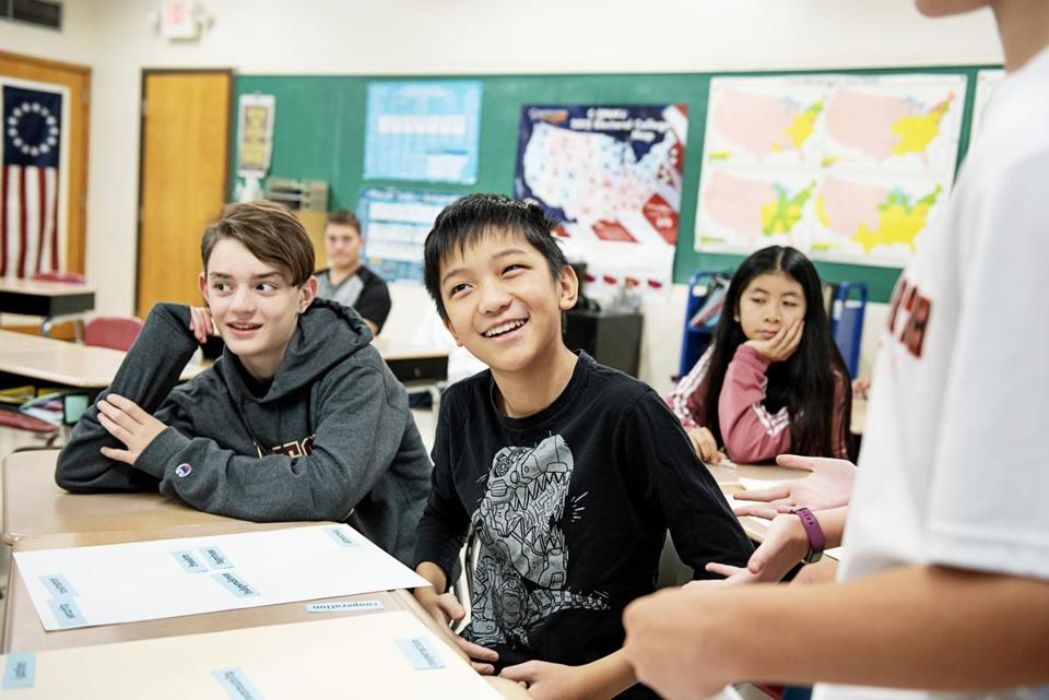 Evan Doan (left) and Aaron Li are among the students in Swan's civics class.