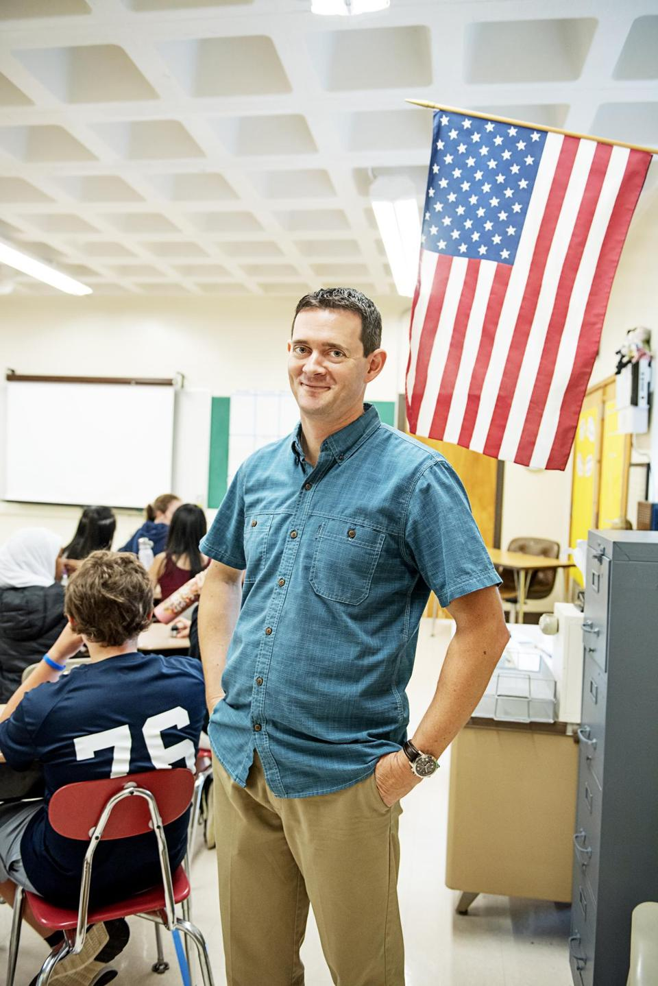 """Civics class is the lens through what it means to be a citizen. It's about the voice you do and don't have,"" says Andrew Swan, an eighth-grade teacher at Newton's Bigelow Middle School."