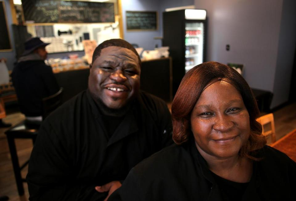 Chef-owner Jermaine Tulloch and his mom, Hulda Tulloch, operate Family Affair in Dorchester's Uphams Corner.