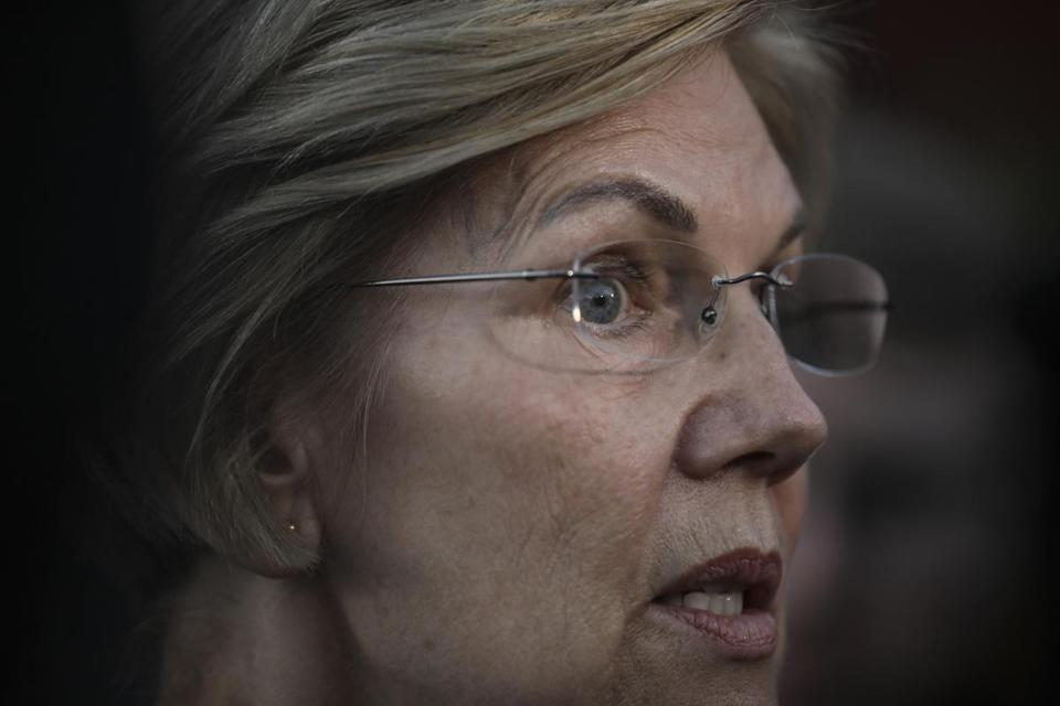 Senator Elizabeth Warren speaking to reporters at a campaign event in Hollis, N.H., last month.