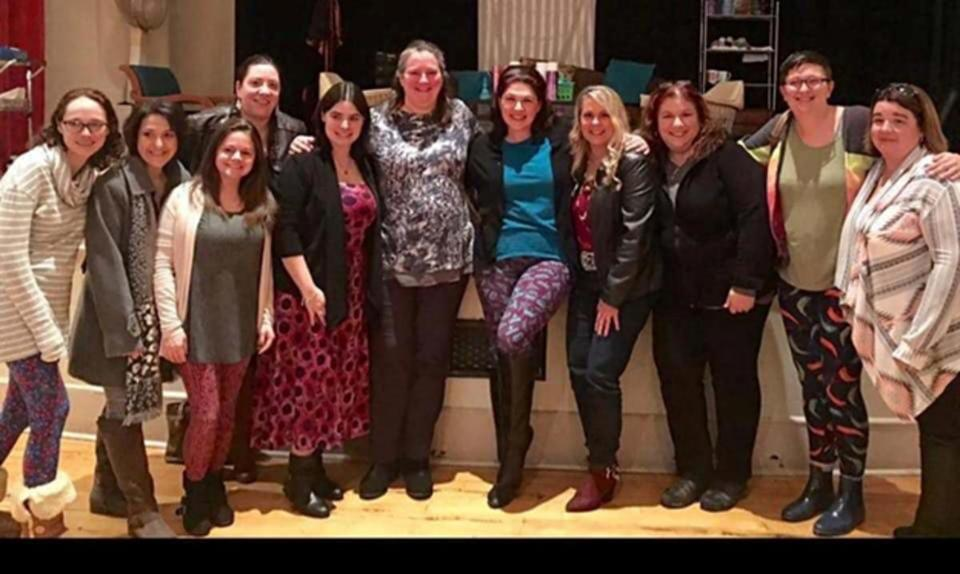 "Deirdre Zaccardi (sixth from left) stood with friends after a February 2017 South Shore Theatre Works production of ""Steel Magnolias."""