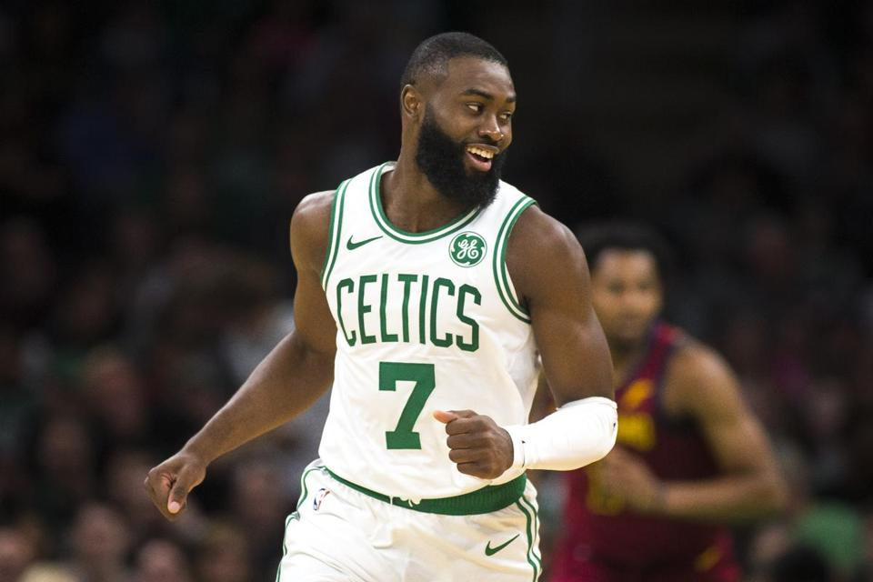 Boston, MA - 10/13/2019 - Boston Celtics guard Jaylen Brown (7) flashes a smile during the second quarter of the preseason NBA basketball game between the Boston Celtics and Cleveland Cavaliers at TD Garden in Boston, Mass. on Sunday, Oct. 13. (Nic Antaya for The Boston Globe) Topic: 14Celtics