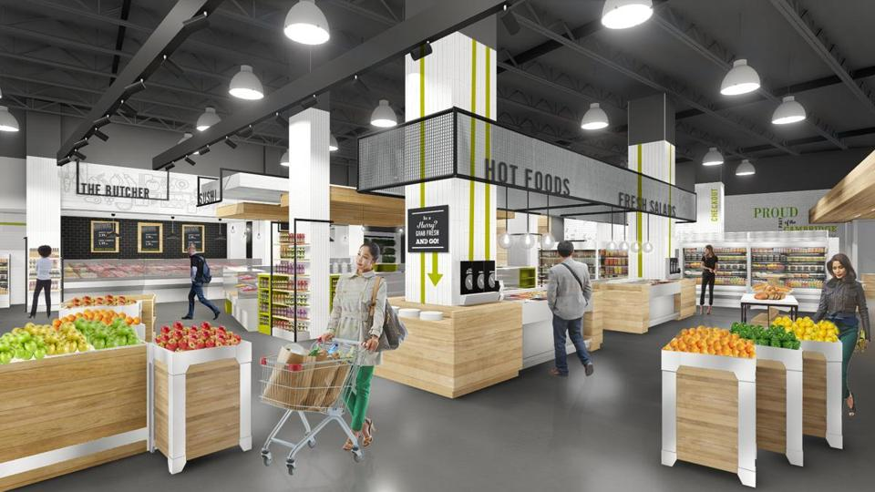 A rendering of the inside of the Roche Bros. Brothers Marketplace store in Kendall Square, which will open Nov. 12.