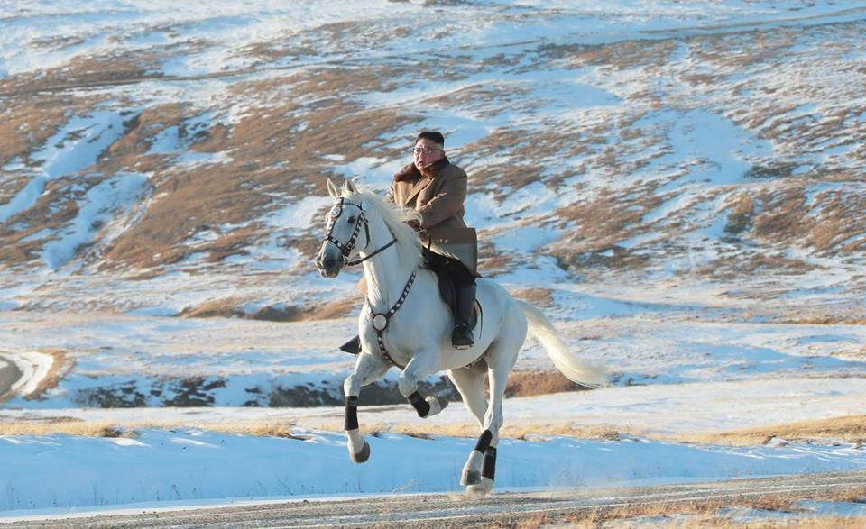 In an undated picture released by Korean Central News Agency, North Korean leader Kim Jong Un rides a white horse amongst the dirst snow at Mouth Paektu.
