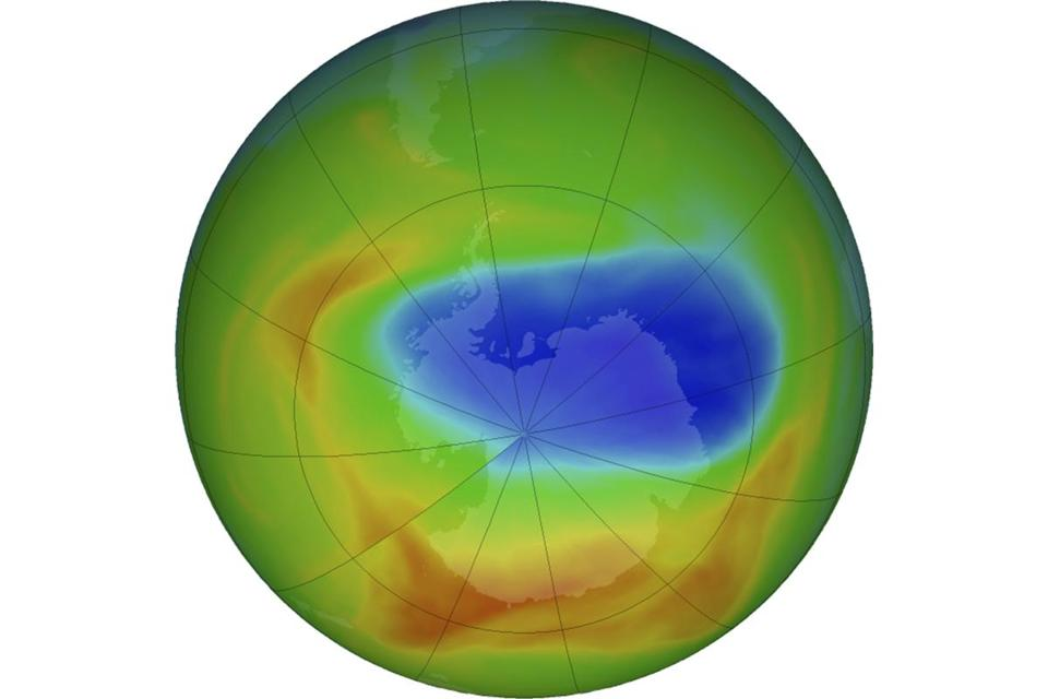 A NASA image shows a map of a hole in the ozone layer over Antarctica on Sunday. The purple and blue colors indicate the least amount of ozone, and the yellows and reds show the most.
