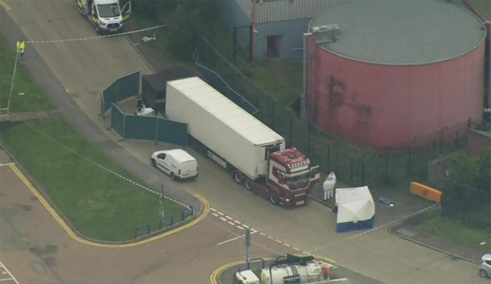 An aerial view of the truck police said contained 39 people found dead inside the container on Wednesday. A 25-year-old from Northern Ireland has been arrested on suspicion of murder and police said they believe the truck container came from Bulgaria.