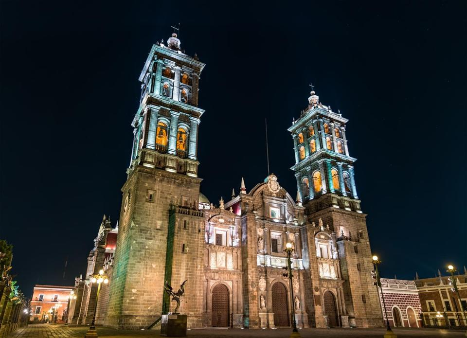 Puebla Cathedral in Mexico at night. Latin America