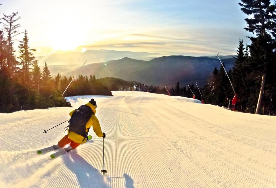A skier carves turns at Stowe Mountain  Resort.