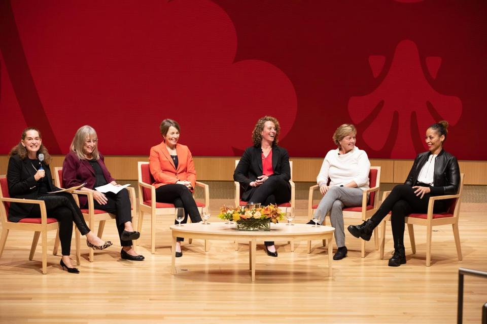 31namesharvard - Kathy Delaney-Smith, Maura Healey, Jessica Gelman, Katey Stone, and Allison Feaster participate in a panel moderated by professor Debora Spar at Harvard Business School. (Harvard Business School)