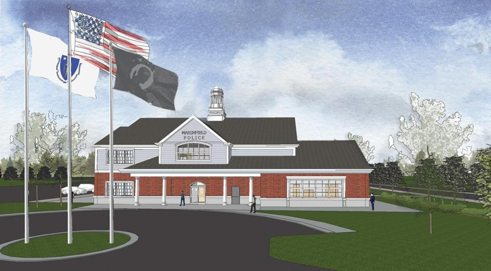 Marshfield residents are deciding whether to build a new police station, shown here in an illustration, as well as an addition to its senior center.