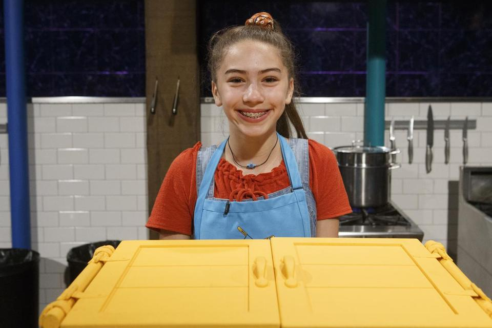 Maya Noyes, 12, of Wayland on the set of Chopped Junior in New York City in July.