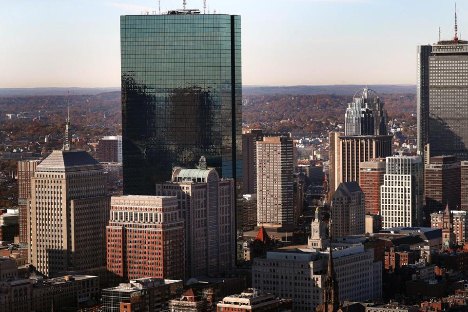 BOSTON, MA - 11/04/2019: Boston skyline by Copley Place viewed from aerial (David L Ryan/Globe Staff ) SECTION: METRO TOPIC