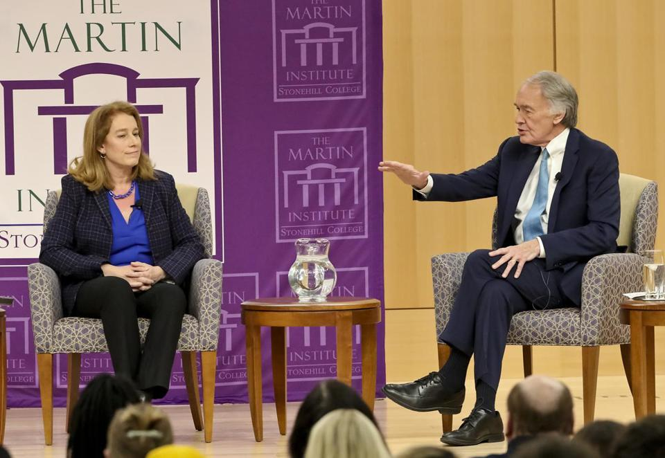Labor lawyer Shannon Liss-Riordan and Senator Edward J. Markey tangled on environmental issues at a climate forum at Stonehill College.