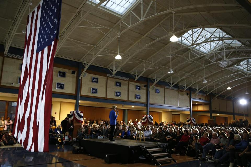"Speaking on Monday in Exeter, N.H. about sexism in the presidential race, Elizabeth Warren said, ""This should be a question the men should have to confront head-on."""