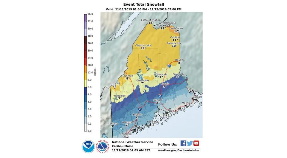 A foot of snow can be expected in parts of Maine through Tuesday.