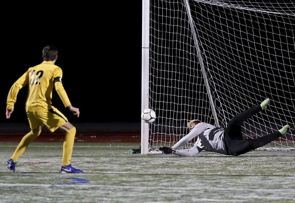 Milford MA 11/17/19 Nauset High Spencer Rushnak (12) watches as Milford High goalie Leo Oliveria blocks his shoot out goal attempt during the MIAA D2 South sectional soccer finals at Milford High. (photo by Matthew J. Lee/Globe staff) topic: reporter: