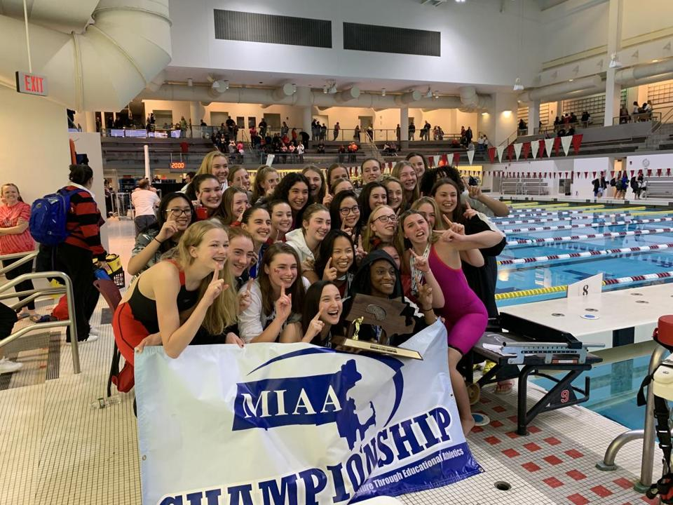 11/17/19 CAMBRIDGE -- The Wellesley girls' swim team celebrated their No. 1 status after winning the Division 2 title at MIT on Sunday.