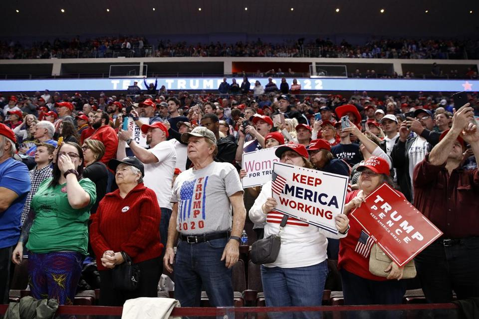 Supporters of President Trump attended a campaign rally Tuesday in Hershey, Pa.