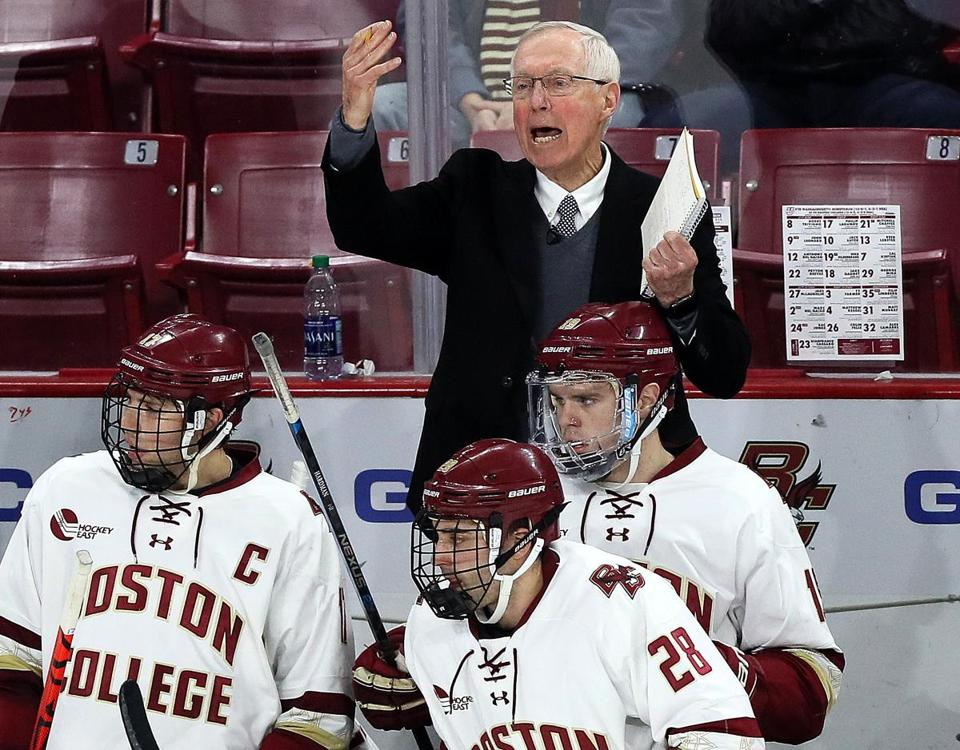 Chestnut Hill, MA - 1/10/2020 - (2nd period) Boston College Eagles head coach Jerry York during the second period. Boston College hosts UMass in Hockey East game at Conte Forum. - (Barry Chin/Globe Staff), Section: Sports, Reporter: Andrew Mahoney, Topic: 11BC-UMass Hockey, LOID: 9.0.1821406064.