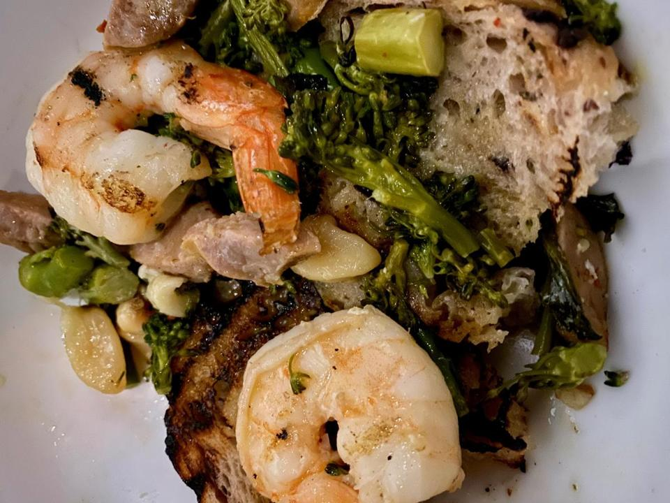 Grilled shrimp with broccolini at Liv Creative Cuisine in Marshfield.