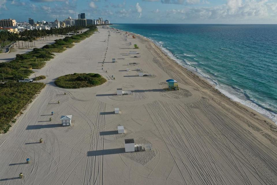 An aerial view from a drone showed an empty, closed beach in Miami Beach as the city continues its efforts to prevent the spread of the coronavirus.