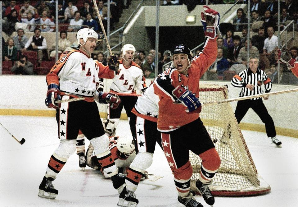 Mr. Hawerchuk celebrated after scoring in the 1986 NHL All-Star game in Hartford.