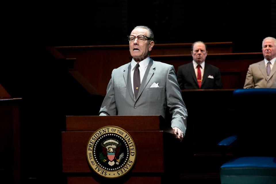 "Bryan Cranston as President Lyndon B. Johnson during a performance of ""All the Way."""