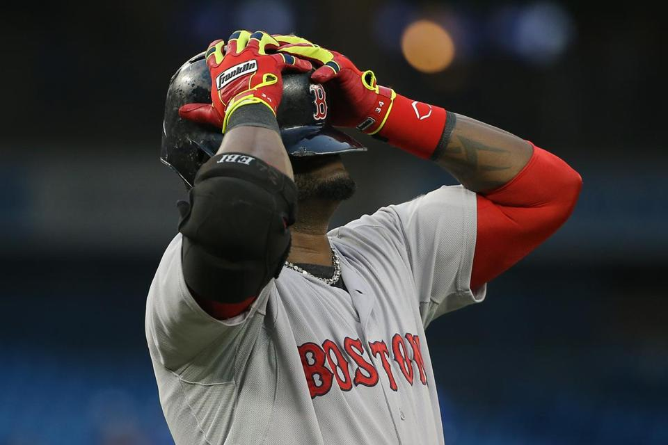David Ortiz reacted after flying out in the fifth inning Tuesday.