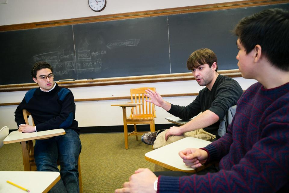 From left: Alexander Khan, Hayden Dublois, and Ivan Valladares of the American Enterprise Club at Middlebury College.