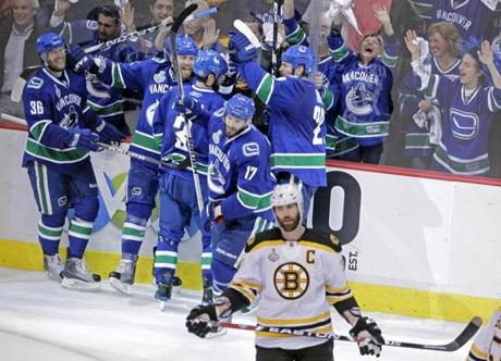 The Canucks exploded in celebration when Raffi Torres clinched the game-winner in Game 1 with 19 seconds left. It was the only goal of the game.