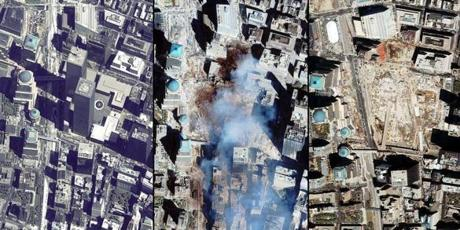 Photos by Space Imaging's IKONOS satellite showing the World Trade Center complex in Manhattan, New York, collected on June 30, 2011 showing the 110-stories twin towers; on September 15, 2001 showing the remains of the 1,350-foot (411.48-meter) twin towers of the World Trade Center, and the debris and dust that have settled in Ground Zero, four days after the terrorist attacks; and June 8, 2002, showing the progress in the reclamation of Ground Zero where the twin towers of the World Trade Center once stood.