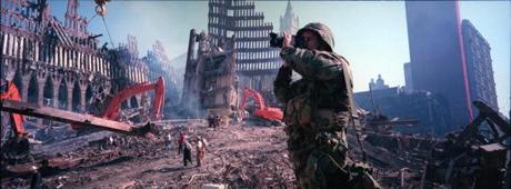 The Massachusetts National Guard Unit's lead photographer , Sean Patrick Jennings, creates a record of the altered landscape at Ground Zero on October  8, 2001.