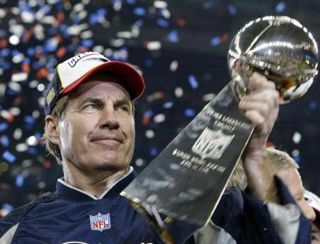 Patriots coach Bill Belichick hoisted the Lombardi Trophy for the second time after shepherding his team to another title.