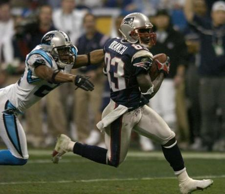 This catch by Branch set up the Patriots' second touchdown in the second quarter that they used to secure a 14-10 lead at halftime.