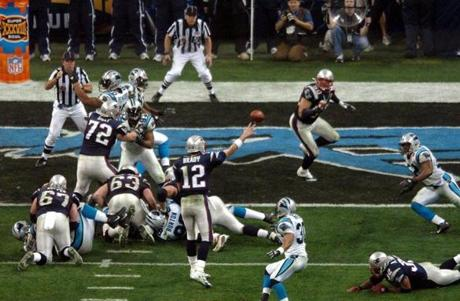 After Carolina took a 22-21 lead, Brady found Vrabel wide open in the end zone for a touchdown with less than three minutes to play.