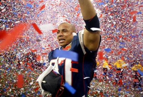 Harrison, who suffered an arm injury late in the game, earned a Super Bowl ring in his first season with the Patriots after joining the club as a free agent.