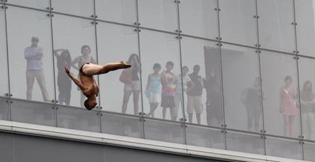 A diver passes by the ICA's window.