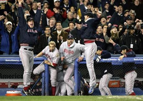 Jubilation reigned in the Red Sox dugout when the final out was made and the Red Sox closed out their comeback with a 10-3 win in Game 7.