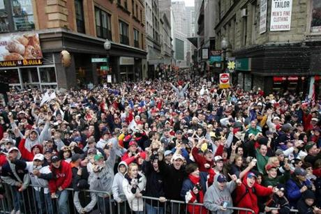 Streets in the city were packed shoulder-to-shoulder with jubilant Red Sox fans.