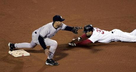 The series turned in the ninth inning of Game 4 when pinch runner Dave Roberts stole second base just ahead of the tag of Yankees shortstop Derek Jeter.