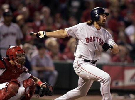 Johnny Damon started off the Red Sox' World Series-clinching win in Game 4 at St. Louis with a home run.