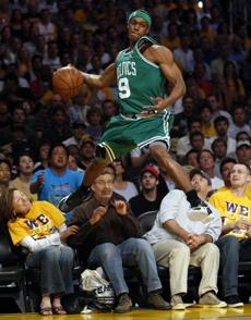 Celtics guard Rajon Rondo went into crowd to retrieve a ball during Game 5.