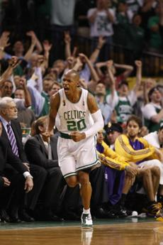Allen and the crowd began to celebrate as the Celtics pulled away during the fourth quarter.