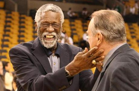 Bill Russell greeted fellow Celtics legend Tommy Heinsohn on the floor before Game 6.