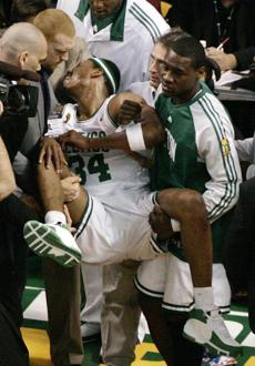 Pierce had to be carried off the court after suffering an injury in the third quarter of Game 1.