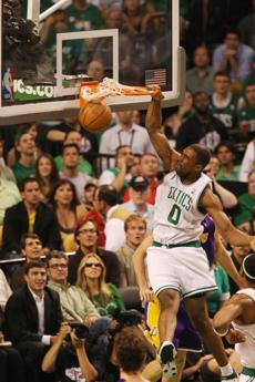 Powe slammed home two points as the Celtics moved to a 2-0 series advantage with a 108-102 win in Game 2.