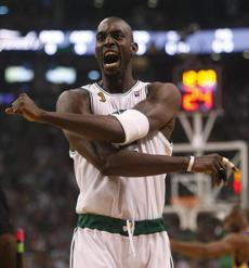 Garnett celebrated after clinching the first championship in his career, less than a year after arriving from Minnesota.