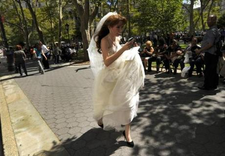 A bride ran from a Lower Manhattan courthouse  in New York after the earthquake rattled buildings.