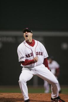 The Red Sox had to work harder for a victory in Game 2. Papelbon celebrated after he closed out the 2-1 win.